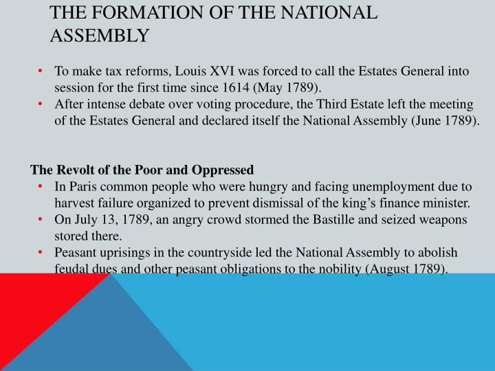 The Formation of the National Assembly