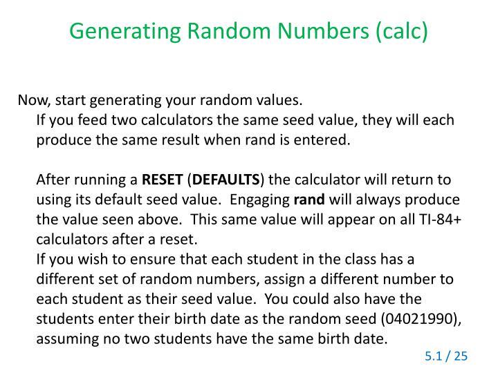 Generating Random Numbers (calc)