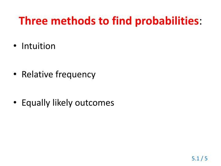 Three methods to find probabilities