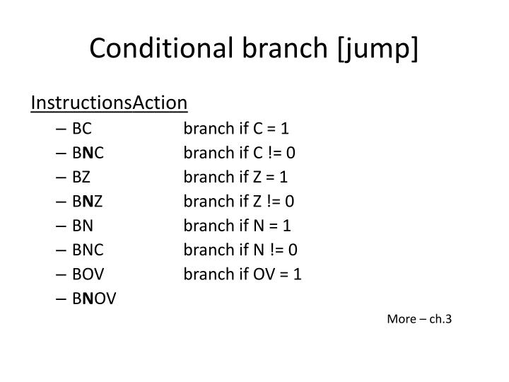 Conditional branch [jump]