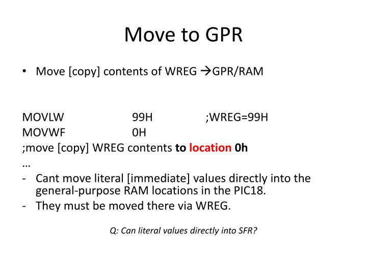 Move to GPR