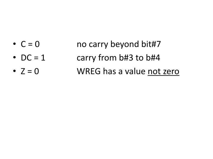 C = 0 no carry beyond bit#7