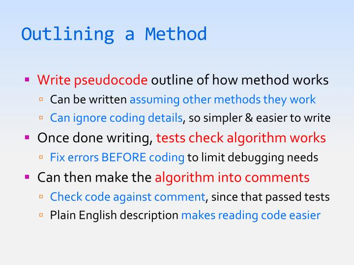 Outlining a Method
