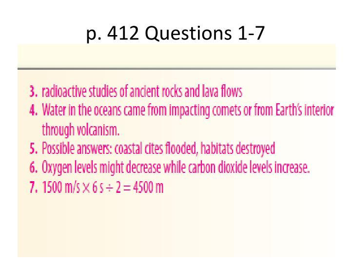 p. 412 Questions 1-7
