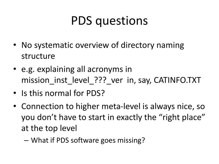 PDS questions
