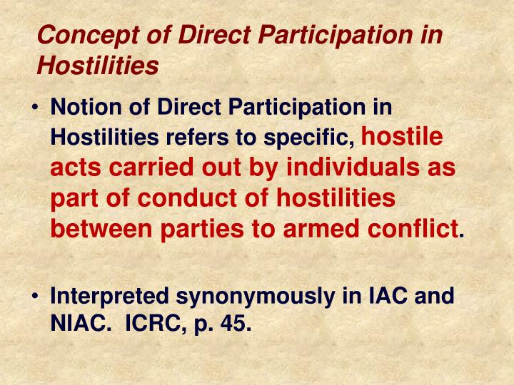 Concept of Direct Participation in Hostilities