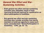 general war effort and war sustaining activities