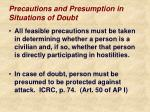precautions and presumption in situations of doubt