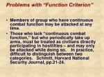 problems with function criterion