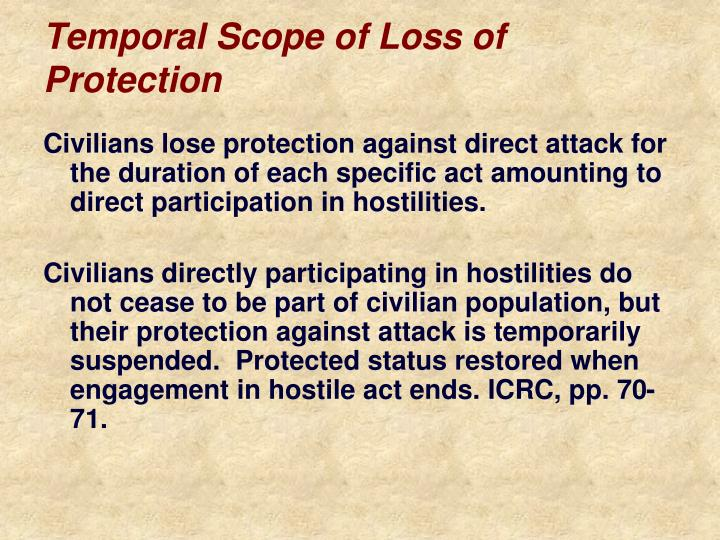 Temporal Scope of Loss of Protection