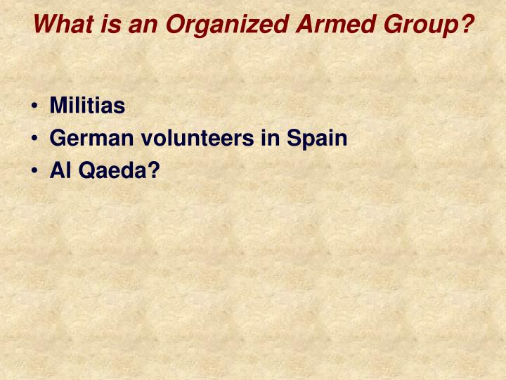 What is an Organized Armed Group?