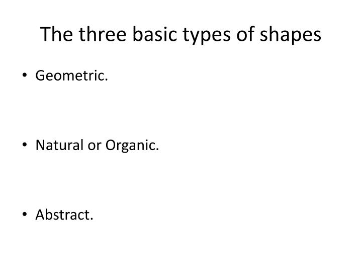 The three basic types of shapes