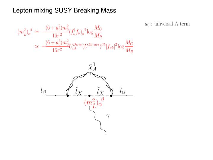 Lepton mixing SUSY Breaking Mass