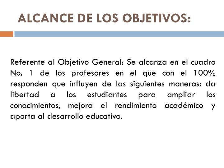 ALCANCE DE LOS OBJETIVOS: