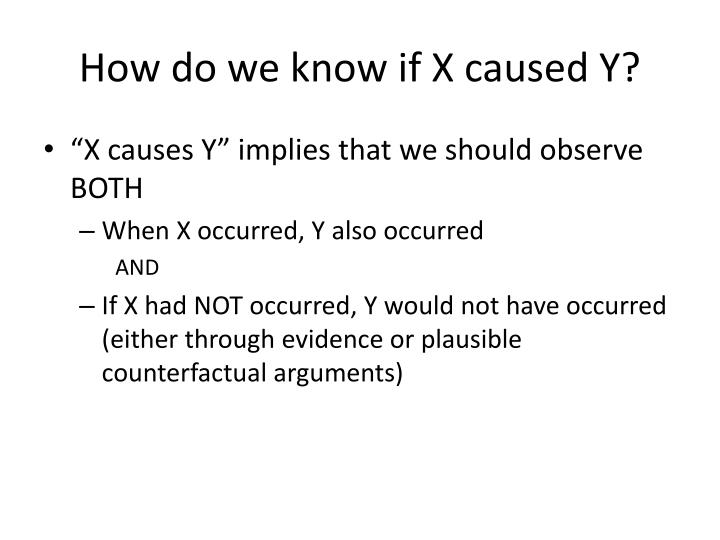 How do we know if X caused Y?