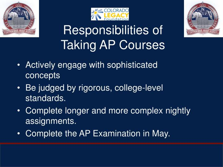 Responsibilities of Taking AP Courses