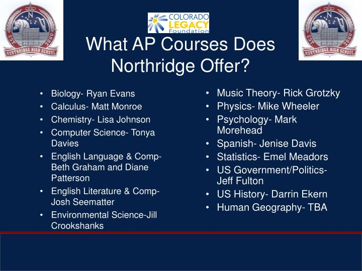 What AP Courses Does Northridge Offer?