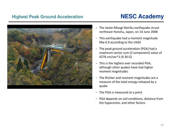 Highest Peak Ground Acceleration