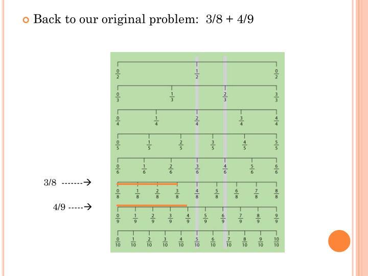 Back to our original problem:  3/8 + 4/9