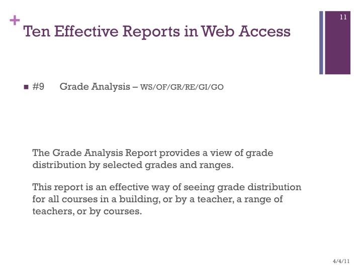 Ten Effective Reports in Web Access