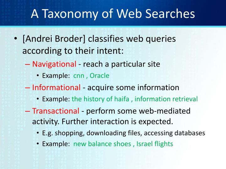 A Taxonomy of Web Searches
