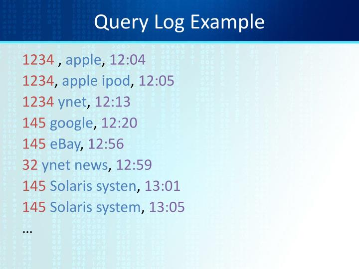 Query Log Example