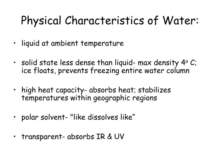 Physical characteristics of water