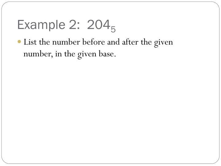 Example 2:  204