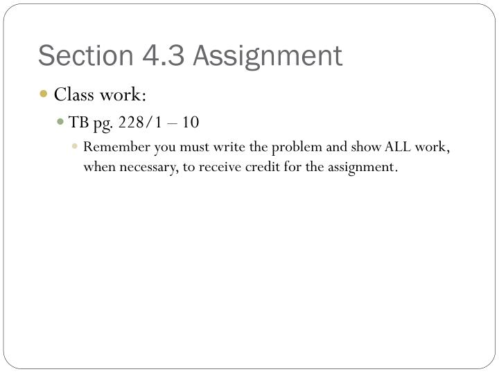 Section 4.3 Assignment