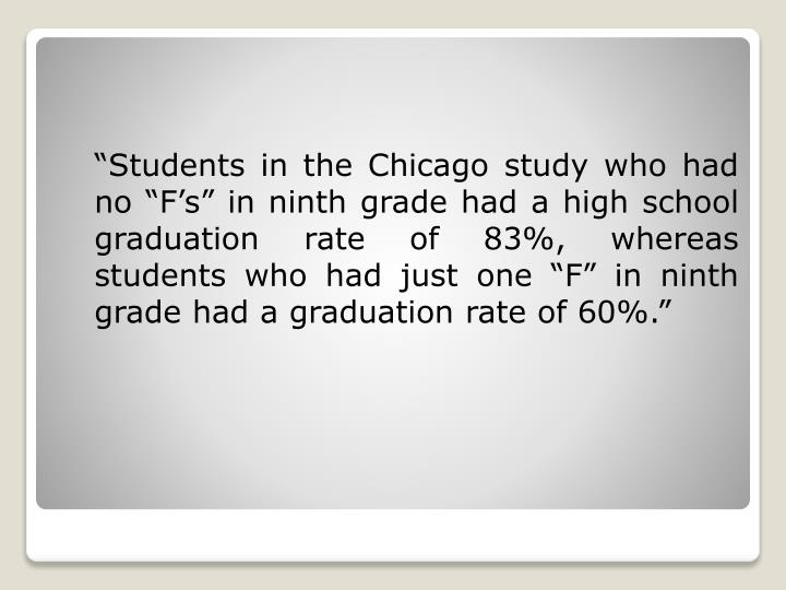 """""""Students in the Chicago study who had no """"F's"""" in ninth grade had a high school graduation rate of 83%, whereas students who had just one """"F"""" in ninth grade had a graduation rate of 60%."""""""