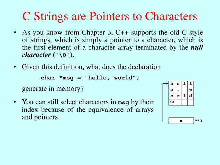 C Strings are Pointers to Characters