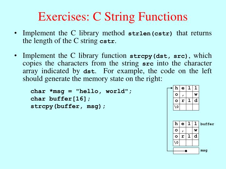 Exercises: C String Functions