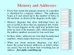 memory and addresses