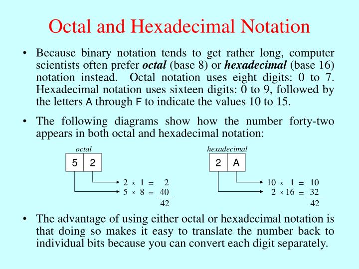 Octal and Hexadecimal Notation