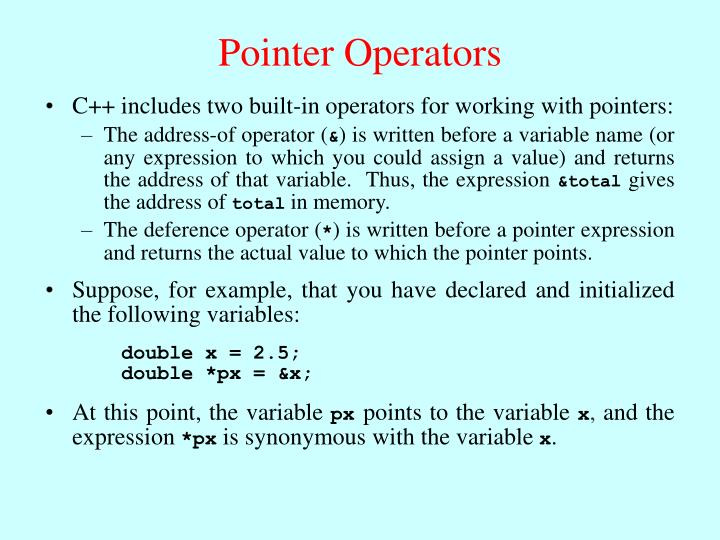 Suppose, for example, that you have declared and initialized the following variables: