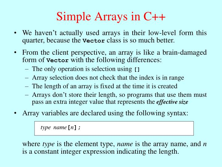 Simple Arrays in C++