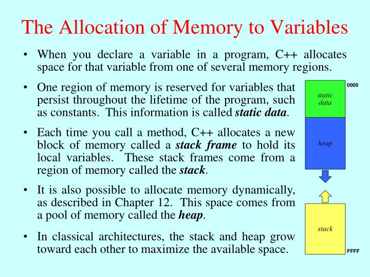 One region of memory is reserved for variables that persist throughout the lifetime of the program, such as constants.  This information is called