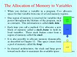 the allocation of memory to variables