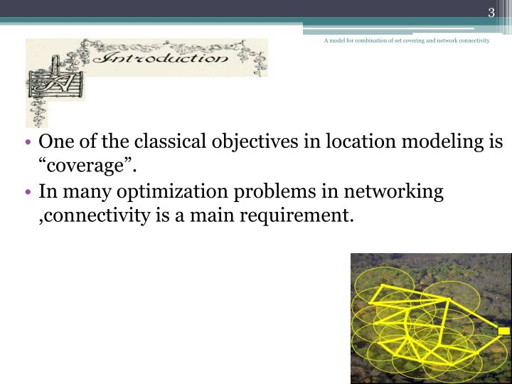 A model for combination of set covering and network connectivity