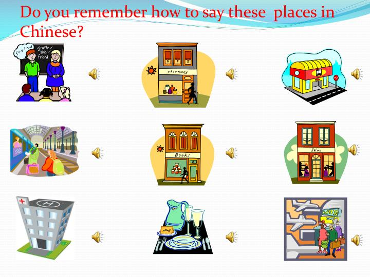 Do you remember how to say these  places in Chinese?