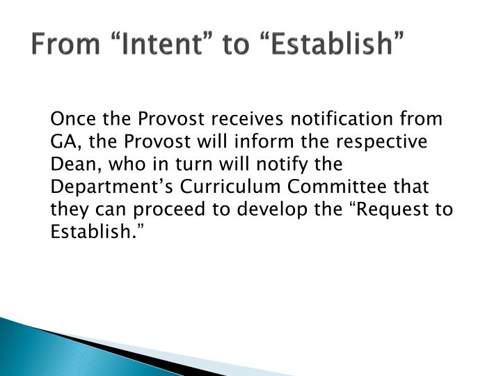 """From """"Intent"""" to """"Establish"""""""