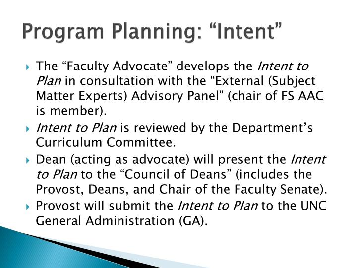 "Program Planning: ""Intent"""