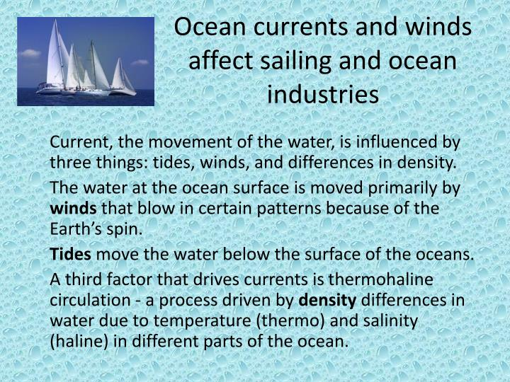 Ocean currents and winds affect sailing and ocean industries