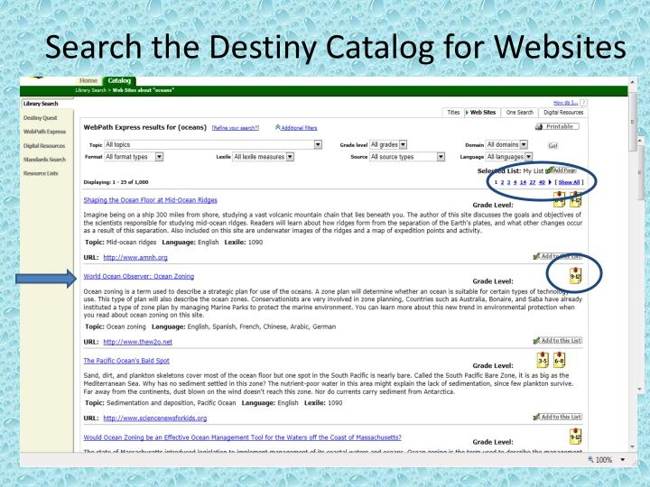 Search the Destiny Catalog for Websites