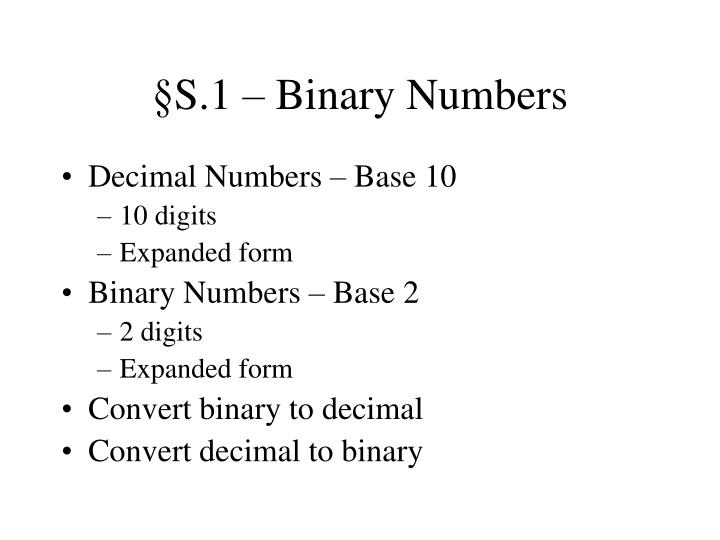 S 1 binary numbers