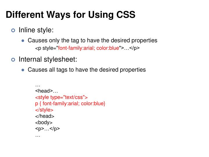 Different Ways for Using CSS