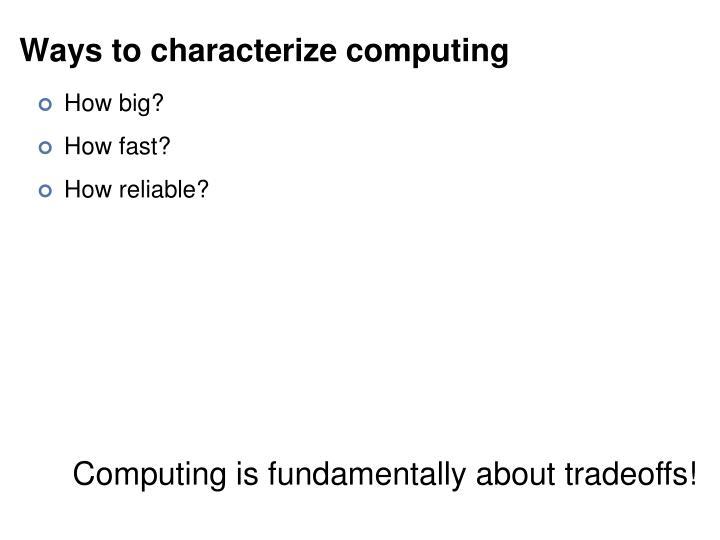 Ways to characterize computing