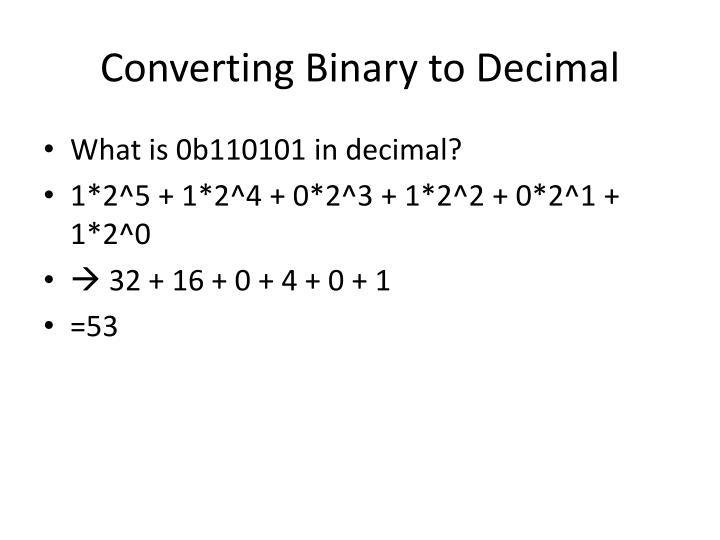 Converting Binary to Decimal
