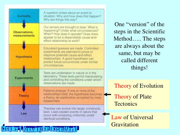 """One """"version"""" of the steps in the Scientific Method….. The steps are always about the same, but may be called different things!"""