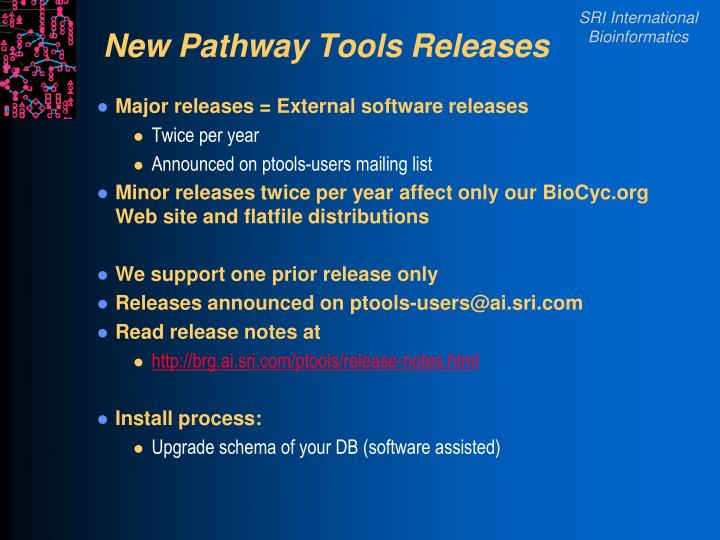 New pathway tools releases